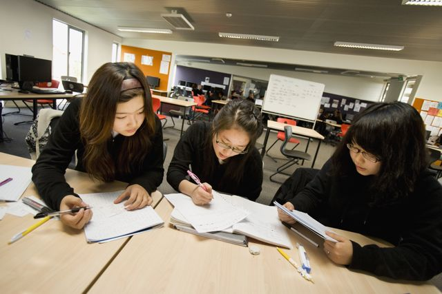 Japanese students studying.